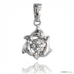 """Sterling Silver Jeweled Dolphins Pendant, w/ Cubic Zirconia stones, 1/2"""" (13 mm)"""