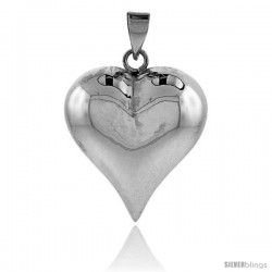 "Sterling Silver High Polished 1 1/4"" Puffed Heart, with 18"" Box chain."