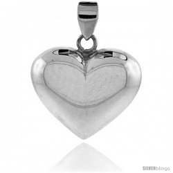 "Sterling Silver High Polished 1"" Puffed Heart, with 18"" Box chain."