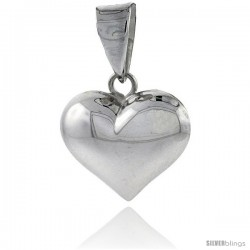 "Sterling Silver High Polished 11/16"" Puffed Heart, with 18"" Box chain."