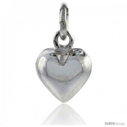 "Sterling Silver High Polished Tiny 5/16"" Puffed Heart, with 18"" Box chain."
