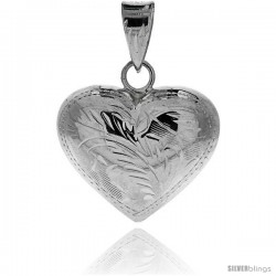 "Sterling Silver Hand Engraved Large 1"" Hollow Puffed Heart, with 18"" Box chain."