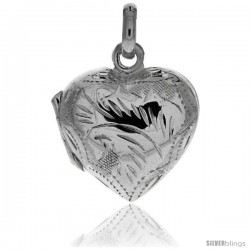 """Sterling Silver Hand Engraved 13/16"""" Puffed Heart, with 18"""" Box chain."""