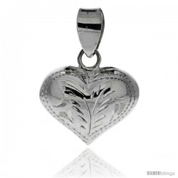 "Sterling Silver Hand Engraved 11/16"" Puffed Heart, with 18"" Box chain."