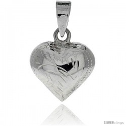 "Sterling Silver Hand Engraved Small 9/16"" Puffed Heart, with 18"" Box chain."
