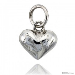 "Sterling Silver Hand Engraved Tiny 3/8"" Puffed Heart, with 18"" Box chain. -Style Tp117"