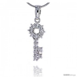"Sterling Silver Jeweled Key Pendant, w/ Cubic Zirconia stones, 7/8"" (22 mm) tall"