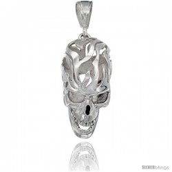 Sterling Silver Large Skull Pendant, 1 1/2 in tall