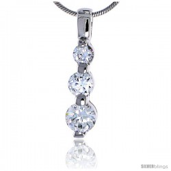 "Sterling Silver Jeweled Pendant, w/ Graduated Cubic Zirconia, 7/8"" (22 mm) tall"