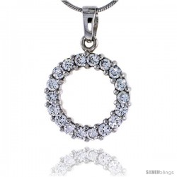 """Sterling Silver Jeweled Circle Pendant, w/ Cubic Zirconia stones, 15/16"""" (24 mm) tall -Style Tp2296"""