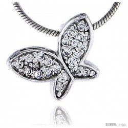"Sterling Silver Jeweled Butterfly Pendant, w/ Cubic Zirconia stones, 3/8"" (10 mm)"