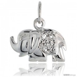 "Sterling Silver Jeweled Elephant Pendant, w/ Cubic Zirconia stones, 5/16"" (8 mm)"