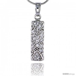"""Sterling Silver Jeweled Tubular Pendant, w/ Cubic Zirconia stones, 15/16"""" (24 mm) tall"""