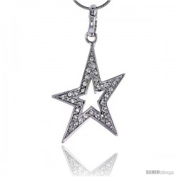 """Sterling Silver Jeweled Star Pendant, w/ Cubic Zirconia stones, 1 3/8"""" (35 mm) tall"""