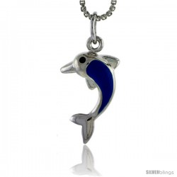 "Sterling Silver Child Size Dolphin Pendant, w/ Blue Enamel Design, 13/16"" (20 mm) tall"