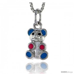 "Sterling Silver Child Size Teddy Bear Pendant, w/ Blue & Pink Enamel Design, 1/2"" (13 mm) tall"