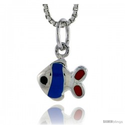 "Sterling Silver Child Size Fish Pendant, w/ Blue & Red Enamel Design, 7/16"" (11 mm) tall"