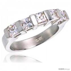 Sterling Silver 1.50 Carat Size Princess Cut Cubic Zirconia Bridal Ring, 1/8 in (3.5 mm) wide