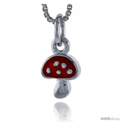 "Sterling Silver Child Size Mushroom Pendant, w/ Red Enamel Design, 1/2"" (13 mm) tall"