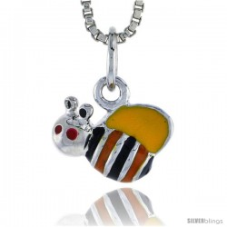 "Sterling Silver Child Size Bumble Bee Pendant, w/ Yellow, Black & Orange Enamel Design, 3/8"" (10 mm) wide"