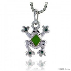 "Sterling Silver Child Size Frog Pendant, w/ Green Enamel Design, 1/2"" (13 mm) tall"