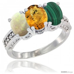 10K White Gold Natural Opal, Whisky Quartz & Malachite Ring 3-Stone Oval 7x5 mm Diamond Accent