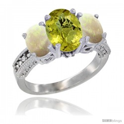 10K White Gold Ladies Natural Lemon Quartz Oval 3 Stone Ring with Opal Sides Diamond Accent