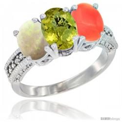 10K White Gold Natural Opal, Lemon Quartz & Coral Ring 3-Stone Oval 7x5 mm Diamond Accent