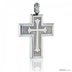 Stainless Steel Cross Floury Pendant, 30 in chain
