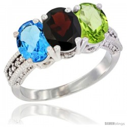 14K White Gold Natural Swiss Blue Topaz, Garnet & Peridot Ring 3-Stone 7x5 mm Oval Diamond Accent