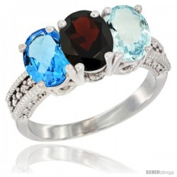 14K White Gold Natural Swiss Blue Topaz, Garnet & Aquamarine Ring 3-Stone 7x5 mm Oval Diamond Accent