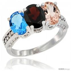 14K White Gold Natural Swiss Blue Topaz, Garnet & Morganite Ring 3-Stone 7x5 mm Oval Diamond Accent