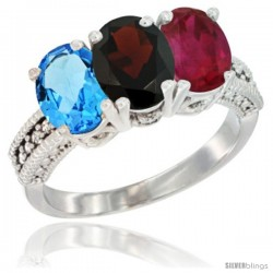 14K White Gold Natural Swiss Blue Topaz, Garnet & Ruby Ring 3-Stone 7x5 mm Oval Diamond Accent