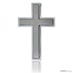 Stainless Steel Latin Cross Slider Pendant, 30 in chain w/ Frosted Finish Center, 30 in chain