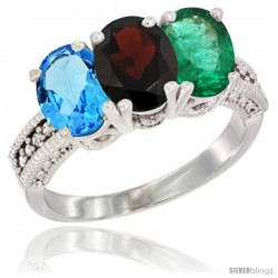 14K White Gold Natural Swiss Blue Topaz, Garnet & Emerald Ring 3-Stone 7x5 mm Oval Diamond Accent
