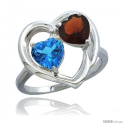 14k White Gold 2-Stone Heart Ring 6mm Natural Swiss Blue & Garnet Diamond Accent