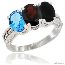 14K White Gold Natural Swiss Blue Topaz, Garnet & Black Onyx Ring 3-Stone 7x5 mm Oval Diamond Accent