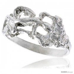 Sterling Silver Gecko Ring Polished finish 3/8 in wide
