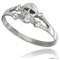 Sterling Silver Tiny Skull & Crossbone Ring 1/4 in wide