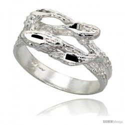 Sterling Silver Snake Ring Polished finish 3/8 in wide