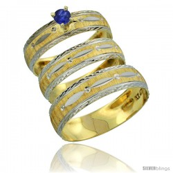 10k Gold 3-Piece Trio Blue Sapphire Wedding Ring Set Him & Her 0.10 ct Rhodium Accent Diamond-cut Pattern -Style 10y502w3
