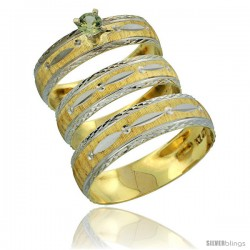 10k Gold 3-Piece Trio Green Sapphire Wedding Ring Set Him & Her 0.10 ct Rhodium Accent Diamond-cut Pattern -Style 10y502w3