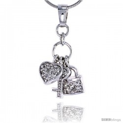 "Sterling Silver Jeweled Pendant, w/ Heart Key Padlock & Cubic Zirconia, 13/16"" (21 mm)"