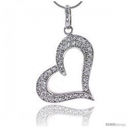 "Sterling Silver Jeweled Heart Pendant, w/ Cubic Zirconia stones, 1 1/4"" (31 mm) tall"