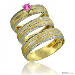 10k Gold 3-Piece Trio Pink Sapphire Wedding Ring Set Him & Her 0.10 ct Rhodium Accent Diamond-cut Pattern -Style 10y502w3