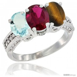 14K White Gold Natural Aquamarine, Ruby & Tiger Eye Ring 3-Stone Oval 7x5 mm Diamond Accent