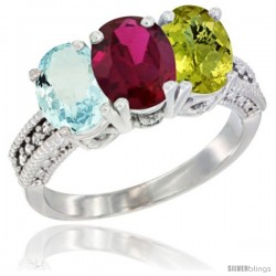14K White Gold Natural Aquamarine, Ruby & Lemon Quartz Ring 3-Stone Oval 7x5 mm Diamond Accent