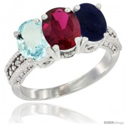 14K White Gold Natural Aquamarine, Ruby & Lapis Ring 3-Stone Oval 7x5 mm Diamond Accent