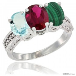 14K White Gold Natural Aquamarine, Ruby & Malachite Ring 3-Stone Oval 7x5 mm Diamond Accent