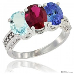 14K White Gold Natural Aquamarine, Ruby & Tanzanite Ring 3-Stone Oval 7x5 mm Diamond Accent
